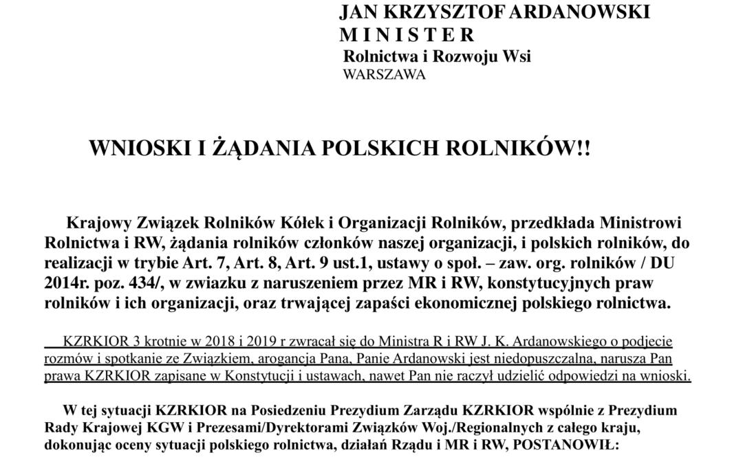WNIOSKI I ŻĄDANIA POLSKICH ROLNIKÓW!