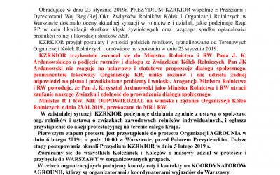 6.02.2019r. – Pałac Prezydencki! Wszyscy na Warszawę! #AGROpowstanie2019!